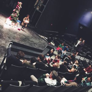 The cast of A Christmas Carol's Secret Santa gift exchange. Photo by Natalie Reiko.