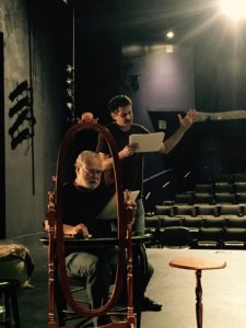 ANW Resident Artists Jeremy Rabb and Mitchell Edmonds rehearsing for a Words Within reading of The Dresser.