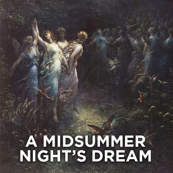 A painting of fairies in a dark forest. A MIDSUMMER NIGHT'S DREAM.