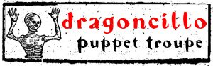 dragoncillo puppet troupe logo with the drawing of a skeleton holding up its hands