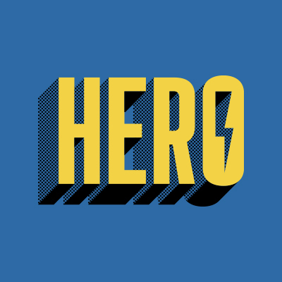 Hero in tall yellow font with dotted black shading that makes it pop out three-dimensionally from a blue background. there is a lighting bolt in the O.