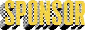 The word sponsor in tall gold font that three-dimensionally pops out with dotted black shading.